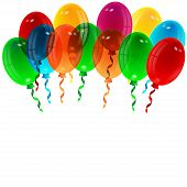 illustration of varicoloured balloons on a white background