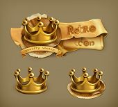 Gold crown vector icon