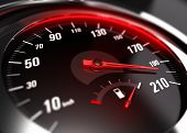 stock photo of speedometer  - Close up of a car speedometer with the needle pointing a high speed blur effect conceptual image for excessive speeding or careless driving concept - JPG