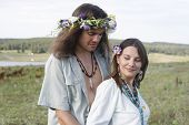 Nice Hippie Couple Embrace