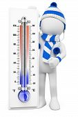 stock photo of thermometer  - 3d white people - JPG