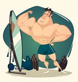 Muscular man. Vector illustration.