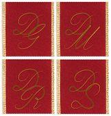 Collection of textile monograms design on a ribbon. DG, DM, DR, DS