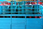A truck load of Blue 14 Kilogram Gas Cylinders - Liquefied Petroleum Gas (LPG)