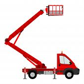 pic of cherry-picker  - Silhouette of a light cherry picker on a white background - JPG