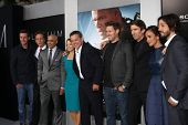 LOS ANGELES-AUG 7: S Kinberg, W Fichtner, Faran Tahir, J Foster, Matt Damon, N Blomkamp, S Copley, Alice Braga, D Luna arrive at the
