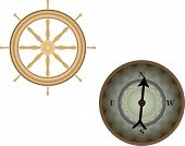 Compass and helm wheel