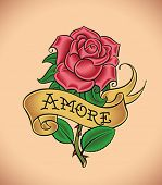 Old-school styled tattoo of a red rose and a banner. Editable vector illustration.