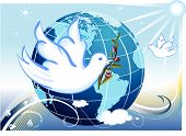 picture of olive branch  - Peace to the Earth with white doves and a branch of olives tree - JPG