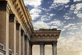 stock photo of novosibirsk  - Novosibirsk opera theater architectural detail of columns against sky during sunset - JPG
