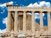 image of olympic stadium construction  - Side view of the columns of The Parthenon temple or sanctuary for Athena Parthenos in Greece - JPG