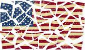 Broken American flag. Vector illustration