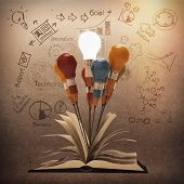 Drawing Idea Pencil And Light Bulb Concept Outside The Book As Creative