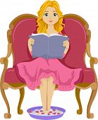 Illustration of a Girl Reading a Book While Having a Foot Spa
