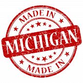 Made In Michigan Red Round Grunge Isolated Stamp