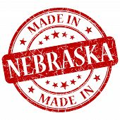Made In Nebraska Red Round Grunge Isolated Stamp