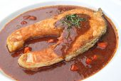 salmon fried with red chili sauce, Thai fusion food