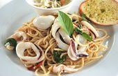 squids spaghetti basil sauce Thai fusion food