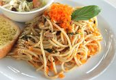 fish eggs  spaghetti basil sauce Thai Fusion spaghetti