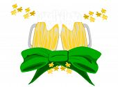 pic of fourleaf  - editble eps vector format jpeg two mugs of beer overflowing with suds sitting on top of large green bow with gold fourleaf shamrocks - JPG