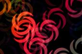 image of crescent-shaped  - Abstract swirl shapes colorful orbs blur party background - JPG