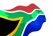 Flag of South Africa over the sky, waving in the wind