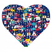 Heart made from US States Flags, collage