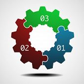 illustration of a cogwheel infographic template with three options, eps10 vector