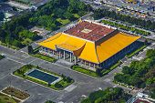 Taipei, Taiwan at Dr. Sun Yat-sen Memorial Hall aerial view.