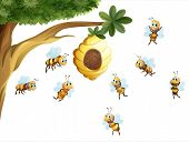 Illustration of a tree with a beehive surrounded by bees on a white background