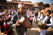 BHAKTAPUR, NEPAL - DEC 20: Unidentified musicians during Birthday celebration head of family - 77 ye