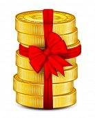 Coins tied with red ribbon.vector