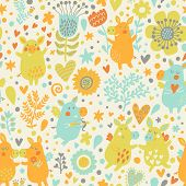 Bright childish seamless pattern with cute piglets in hearts and flowers. Valentines day romantic concept card in vector. Seamless pattern can be used for wallpapers, pattern fills.