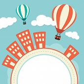 Hot Air Balloons Over Buildings