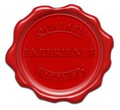 Experience Quality - Illustration Red Wax Seal Isolated On White Background With Word : Experience