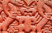 stock photo of maori  - Detail of an old beautiful maori carving - JPG