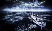 Stormy marina with rough sea