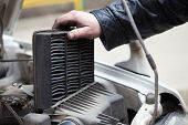 replacing the air filter, car repair