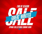 Great winter sale, end of season design in retro style.