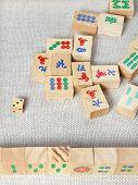 Top View Of Wooden Tiles Of Mahjong Desk Game