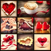 Image of valentine collage. Valentines day hearts art design. Love. Red heart, roses, lips, ribbons over wooden background. Coffee cappuccino with heart foam. Flower petals, burning candles and heart lips kiss.