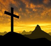 image of inri  - Dramatic sky  with  mountain cross - JPG