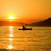 Summer sunset kayaking in Montenegro