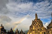 Stupa Rainbow Buddist Temple Borobudur Complex In Yogjakarta In Java
