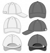 Vector illustration of baseball cap (front, back and side view). Black and white variants. No mesh.