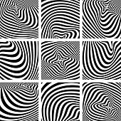 Set of op art textures in zebra pattern design. Vector art.