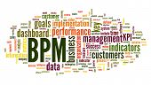 BPM business  performance management in word tag cloud on white background