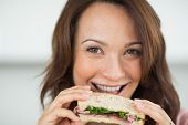 Closeup portrait of a beautiful smiling young woman eating sandwich