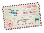 Baby Shower or Arrival Postcard - with Plane in vector