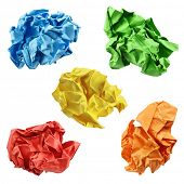 Colorful crumpled paper balls in blue, green, yellow, red and orange, isolated on a white background